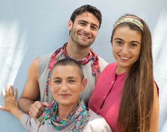 choose any color, unisex and unique textile scarf necklace, bohemian accessories