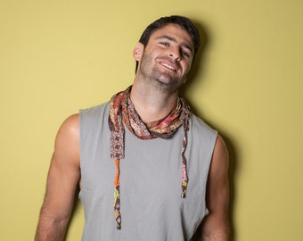 Burning Man Clothing, Brown Scarf Necklace, Men's Festival Clothing, Long Scarves, Men's Neck Scarf, Tribal Scarf, Christmas Gifts For Him