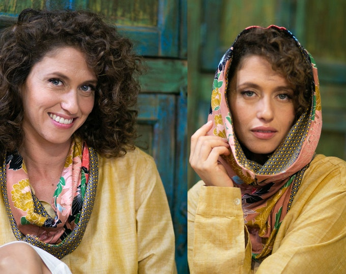Unisex reversible hooded scarf festival clothing