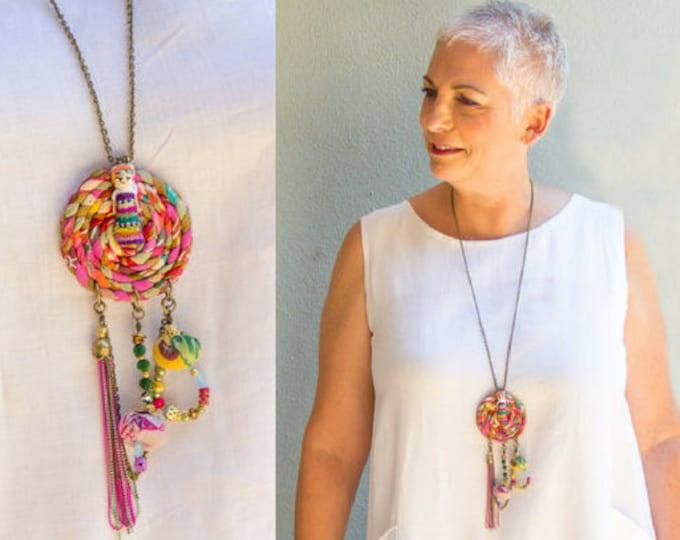 Dreamcatcher Necklace, Boho Jewelry, Hippie Style, OOAK Colorful Necklace, Festival Jewelry, Long Fringe Necklace, Unique Fabric Necklace