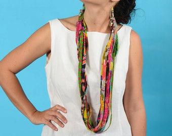 Colorful Hippie Necklace, Festival Clothing, Burning Man Clothing, Multi Strand Necklace, Fabric Necklace, Burning Man, Boho Chic Style
