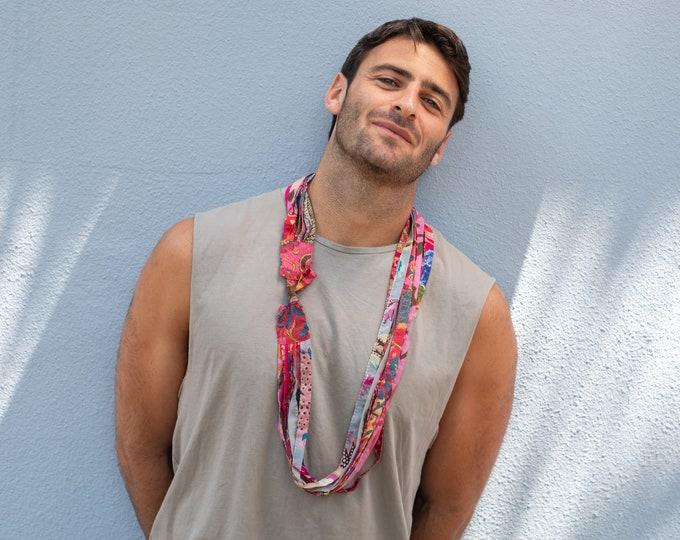 Pink Boho Chic Unisex Cotton Necklace/Scarf/Headband