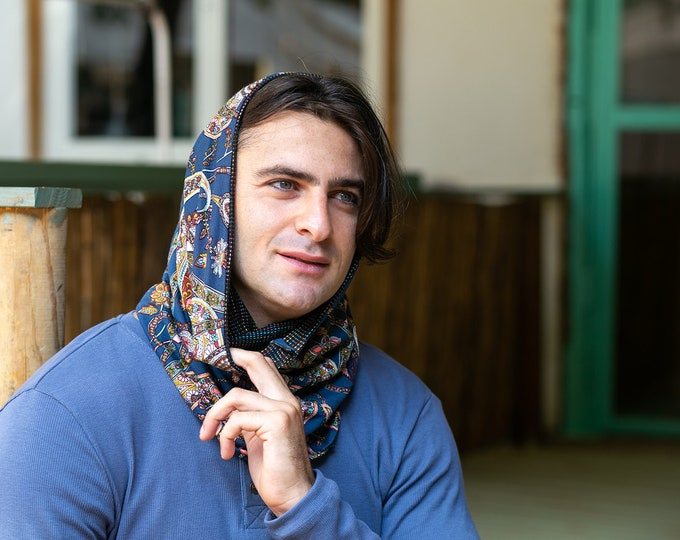 Navy Blue Hooded Scarf, Mens Festival Hood, Burning Man Hood, Infinity Scarf, Oversized Winter Scarf, Reversible Scarf, Double Sided Scarf