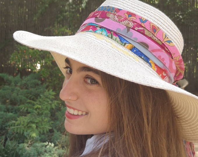 Pink, Red Hat Band, Hat accessory, Hat Bands Boho, Boho Hat Accessory,Bohemian Accessories,Festival Hat Band, Women's Cotton Hatband