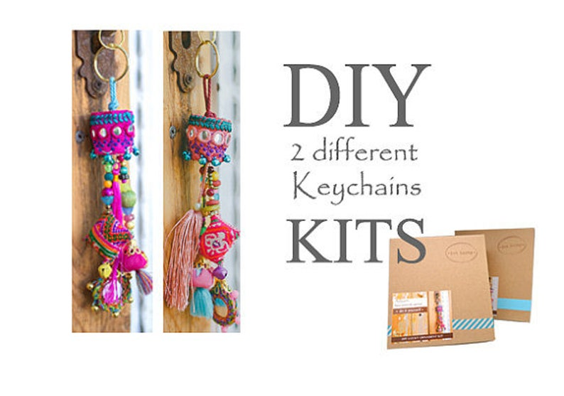 6f2585f09be5 Boho Tassel Key-chain, Keychain Making Kit, Keychain Craft Kit, Hippie  Keychain, DIY Gift Ideas, DIY Gifts For Mom, Christmas Gifts