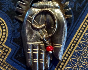 Hand of Blessing Amulet, guardian, protection, happiness, health, good fortune Fine Silver, Gold, Coral, 17in. Sterling chain Pat Gullett