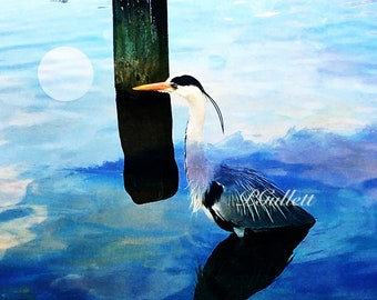Blue Moon Crane, Giclee Archival Ink Print magic Two Full Moons Guardian of Secret Knowledge Between the Worlds ConsciousnessPat Gullett