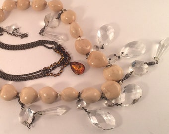 Statement Kukui Nut Lei Necklace of Found items for Those Joyous Occasions!!!