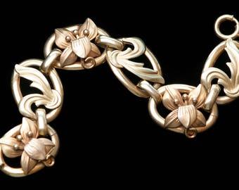 Gold Filled Art Nouveau Link Bracelet Lily Bracelet Floral Bracelet Antique 1900s Signed