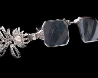 90773366ea5b Art Deco Silver Lorgnette Eyeglasses   Lapel Clip Art Deco Lorgnette  Rhinestone Lorgnette 835 Silver