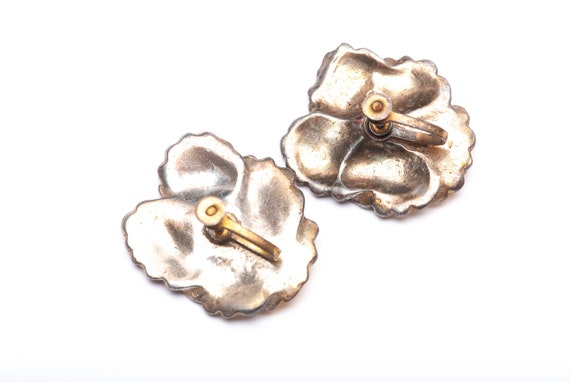Vintage Enamel Pansy Flower Brooch Pin Clip Earri… - image 3