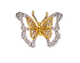 Nolan Miller Butterfly Brooch Rhinestone Pin Two Tone