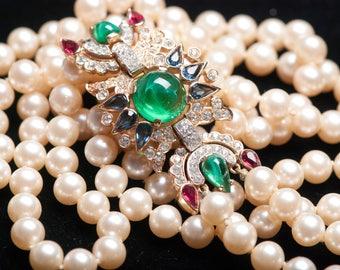 Rare Vintage TRIFARI JEWELS of INDIA Long Double Strand Pearl Rhinestone Necklace