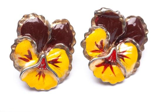 Vintage Enamel Pansy Flower Brooch Pin Clip Earri… - image 2