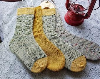 Knitting PATTERN - Straw into Gold Toe Up Socks Fleegle Heel
