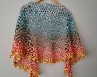 Crochet PATTERN - Collective Unconscious Adjustable Crescent Shaped Lacey Shawl Granny Stitch