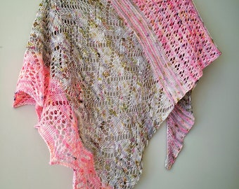 Knitting PATTERN - Windswept Shawl Lace Cables