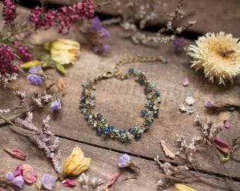 Moonstone aquamarine apatite kyanite bracelet