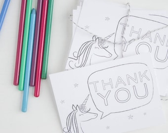 Unicorn Thank You Cards for Kids. Set of 8 Unicorn Thank You Cards. Fill-In Thank You Cards. Color-In Thank You Cards. Stationery for Kids.