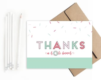 Donut Thank You cards  // Sprinkles Thank You Cards // Birthday thank you cards // Donut birthday party  // Ice Cream Birthday Party