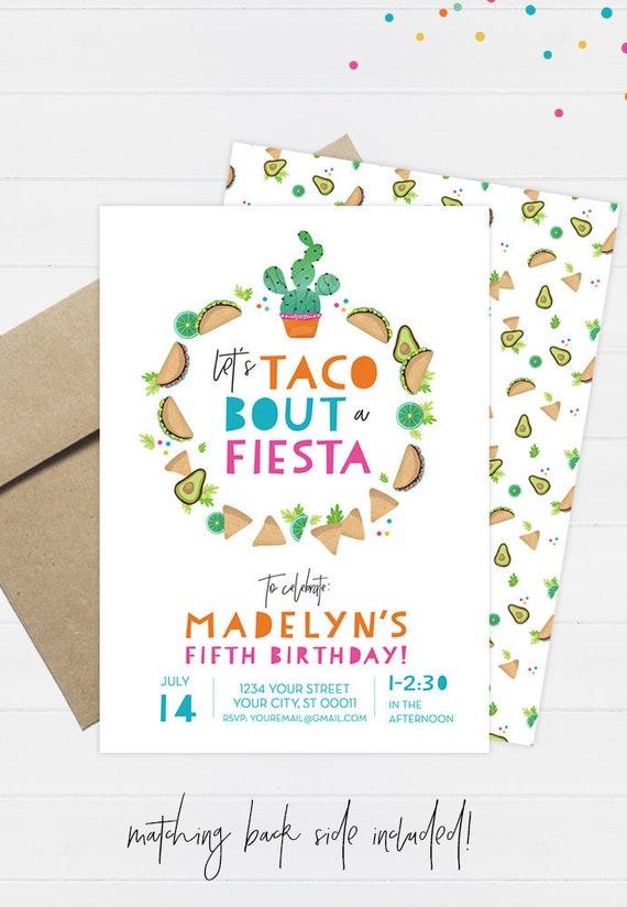 taco party invitation taco birthday invitation fiesta etsy