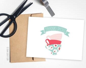 Vintage Tea Party Thank You cards  // Tea cup thank you cards // Tea party // Birthday thank you cards