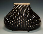 Reserved for Anita - Contemporary hand woven twill cat 39 s head basket in black and walnut