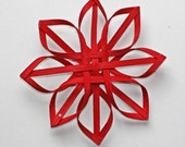 small hand woven Carolina Snowflake in red
