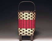 Hand woven Mayberry Basket in red and black