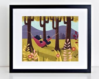 Solitude, Bear in Hammock 8 x 10 inch Fine Art Print