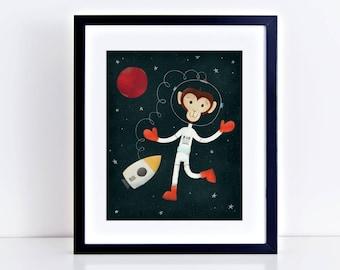 Space Walking Monkey 8 x 10 inch Fine Art Print