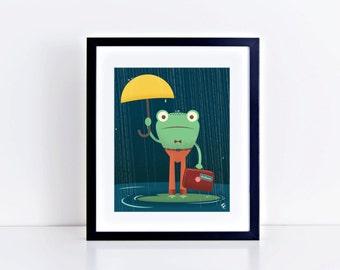 SALE! ** Traveling Frog 8 x 10 inch Fine Art Print