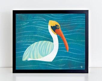 SALE! ** Pelican 8 x 10 inches Fine Art Print