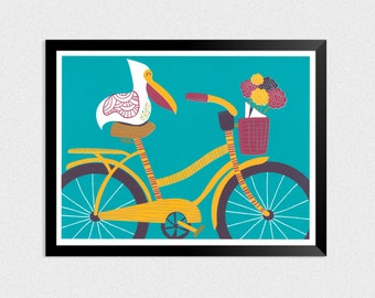 Pelican Cruise | pelican and bike 18 x 24 inch original signed and numbered screen printed poster