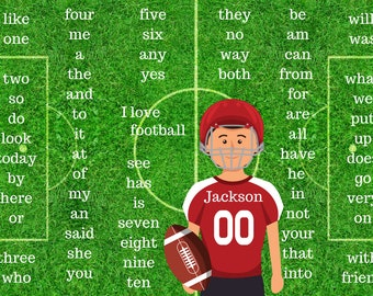 Football Placemat - Kindergarten Sight Words (Personalized)