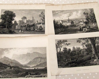 Vintage Set of 12 Welsh Book Plates of Castles, Churches and Locations around Wales