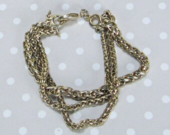 Beautiful Vintage Retro Metal Gold Tone 3 Thick Chain Bracelet with Working Spring Clasp