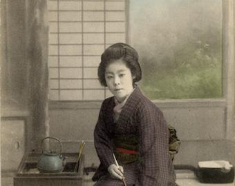 vintage japonese photography : portrait of geisha