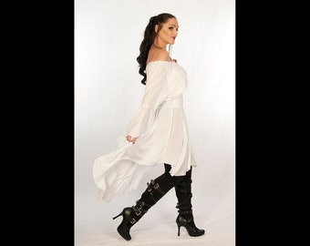 Dress Like A Pirate Long High Low Tunic Above Knee to Ankle Dress or Blouse Butterfly  Sleeves 4fa2940a98