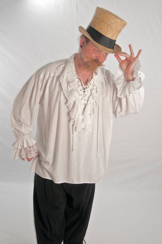 Pirate Shirt Men/'s White Rayon Laced Front Mandarin Collar Period Costume Shirt