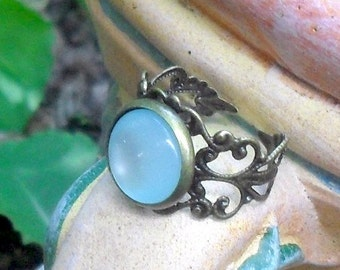 MEDIEVAL RING, FANTASY rings, Elven rings, medieval jewelry, Victorian ring, Tudor ring, Art Nouveau ring, elf ring, gift for women, aqua