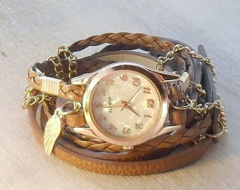 WRAP WATCH BRACELET vegan leather wrap watch real flower watch, gold bracelet watches black leather watch wrist watch gift for women