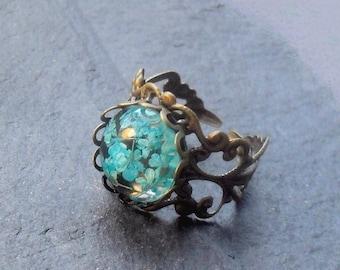 REAL FLOWER RING, flowers in resin, plant ring, turquoise ring, botanical ring, flower ring, flower jewelry, real flowers, gardeners gift