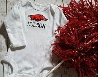 Woo Pig Sooie Arkansas Razorbacks Hogs Baby Gift One Piece Bodysuit Onsie Romper Jumper Baby
