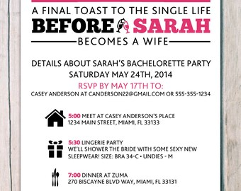 printed 'hen party' 'bachelorette invitations' · girls night out invitation · hen party invitation · bachelorette party invitation