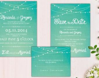 digital printable wedding set 'be merry' · backyard wedding invitation · bohemian wedding set · rustic wedding set