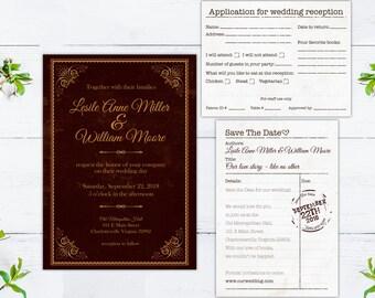 digital printable wedding set library books · wedding library book invitation · book lovers wedding set · library book wedding set