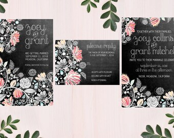 digital printable wedding set 'chalkboard' 'flowers' · bohemian wedding invitation · wildflower wedding set