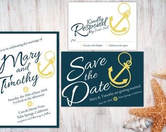 digital printable wedding set 'nautical' · wedding nautical invitation · nautical wedding set · modern nautical wedding set
