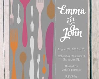 printed 'rehearsal dinner invitations' · dinner invitation · rehearsal invitation · wedding invitation